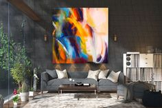 Large Abstract Painting on Canvas,Large Painting on Canvas,painting colorful,large art on canvas,livingroom decor art FY0031