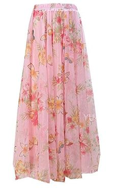 Xinliya Chiffon Floral Pleated Maxi Skirt Beach Long Dress One Size Suihua * To view further for this article, visit the image link. #WomensSkirts