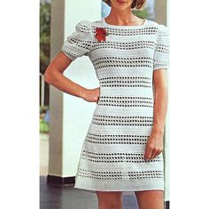 INSTANT DOWNLOAD PDF Crochet Pattern  Puff Sleeved Mini Dress  Retro Vintage Plus Free Pattern