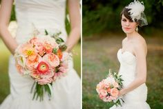 peach/coral/melon tone wedding flowers for the summer or fall bride