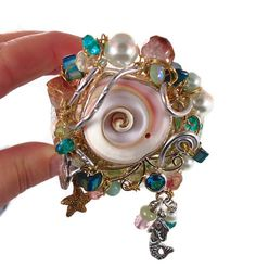 Mermaid # Bracelet  Cuff - Bedecked with Shell, Pearls, Beads and Wire wrapped - InVintageHeaven