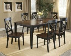 """Englewood 5 Piece Dining Set Hillsdale Furniture-4884DTBC2 by Hillsdale. $729.00. Chair Dimensions: 38.25"""" H x 18.5"""" W x 18"""" D Table Dimensions: 30.5"""" H x 72"""" W x 40"""" D. Sleek, clean, and refined, the Englewood gathering and dining table achieve elegance through simplicity. The transitional criss cross backed chairs and stools paired with our ever popular distressed black finish create the perfect combination of show stopping style and timeless design. Add to the alre..."""
