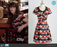 Jess's red and navy printed dress on New Girl.  Outfit Details: https://wornontv.net/57024/ #NewGirl