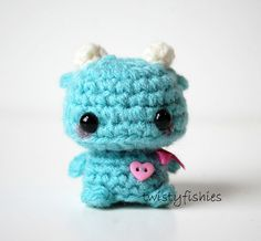 Mini Blue Monster Kawaii Amigurumi Plush by twistyfishies on Etsy Kawaii Crochet, Crochet Bear, Cute Crochet, Crochet Crafts, Yarn Crafts, Crochet Projects, Sewing Crafts, Crochet Animal Patterns, Stuffed Animal Patterns