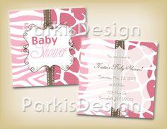 Baby Girl Shower Invitation Pink Animal Print