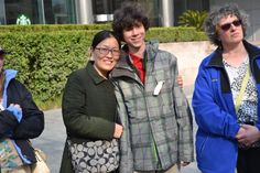Catherine Haddad and Andrew S. '17 outside the NYU Shanghai campus.