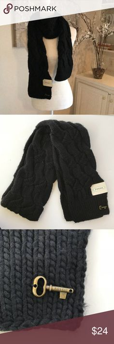 """NEW Fossil """"Gemma"""" black cable long scarf Nice Fossil long scarf. Measures 6"""" wide and 74"""" long. Black cable knit. Fossil key at bottom. Tag on item. Great gift! Fossil Accessories Scarves & Wraps"""