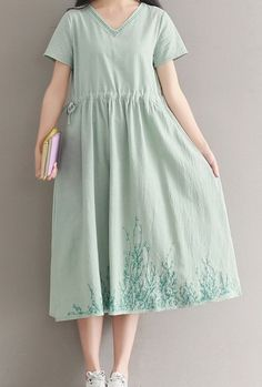 Women loose fitting over plus size pastel green flower dress long tunic fashion #Unbranded #dress #Casual