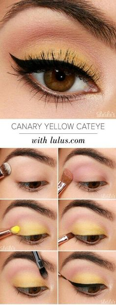 Eyeshadow Tutorials for Beginners Canary Yellow Eye Makeup Tutorial Step By Step Tutorial Eyeshadow Looks Step By Step beginners Canary eye eyeshadow Makeup step Tutorial Tutorials Yellow makeup steps natural Yellow Eye Makeup, Yellow Eyeshadow, Makeup For Brown Eyes, Colorful Eyeshadow, Eyeshadow Looks, Eyeshadow Makeup, Colorful Makeup, Makeup Brushes, Makeup Remover