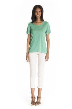 The Aurea Linen Top - women's spring summer fashion mint green linen jersey top Fukushima, Mint Green, Spring Summer Fashion, White Jeans, Bermuda Shorts, Tights, Fabric, Pants, Beautiful