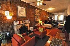 The exposed brick walls, original Tin ceiling, wide plank hardwood ...