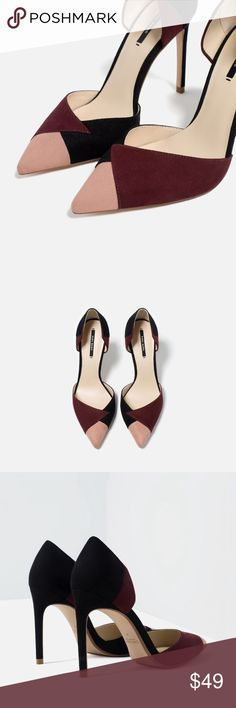 Contrasting High Heels. Contrasting colour shoes with Heel.Asymmetric cut. Stiletto Heel. Zara Shoes Heels