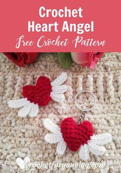 Crochet Heart Angel Free Pattern Crochet Heart Angel Free Pattern - Crochet For You Learn the basics Crochet Angel Pattern, Crochet Keychain Pattern, Crochet Angels, Crochet Hearts, Crochet Diy, Crochet Gifts, Tutorial Crochet, Crochet Owls, Crochet Food