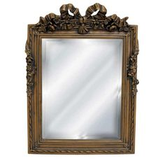 Hickory Manor House Bow Top Beveled Mirror in Gold Wash