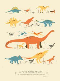 La Petite Marche des Dinos - Clemence Dupont - L'Affiche Moderne