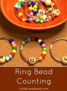 Number recognition & coutning activities: Pony Bead Ring Counting math center.