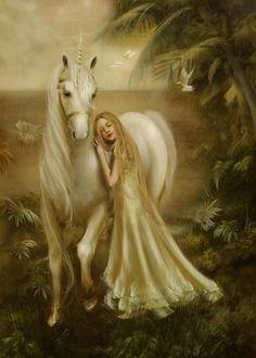 Unicorn fantasy by Gloria Sholik Fantasy Unicorn, Unicorn And Fairies, Unicorns And Mermaids, Unicorn Art, Magical Unicorn, Unicorn Pics, White Unicorn, Magical Creatures, Fantasy Creatures