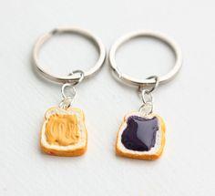 Peanut Butter and Jelly Best Friends Keychains, Charm Keychain, Charm Jewelry, Food Jewelry. $11.75, via Etsy.