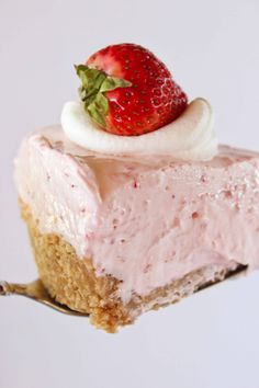 Easy No Bake Strawberry Cheesecake | Practically Homemade Strawberry Cheesecake Recipe Easy, Strawberry Filling, Easy Cheesecake Recipes, Vanilla Wafer Crust, Baked Strawberries, Wafer Cookies, Cookie Crumbs, Summer Recipes, Food Processor Recipes