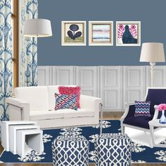 Indigo Blue and Pink #interior design #decor #pink #indigo blue #project decor(kitchen color)