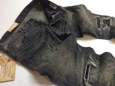 Denim-amp-Supply-Ralph-Lauren-Men-Repaired-Distressed-Rip-Stretch-Slim-Black-Jeans