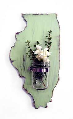 ALL STATES AVAILABLE Mason Jar Vase Repurposed Candle holder