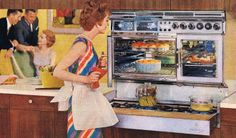 She loves her fabulously-styled Tappan stove with a double oven! Better Homes and Gardens September 1961 Vintage Room, Vintage Kitchen, Vintage Art, Kitchen Retro, Vintage Homes, Vintage Images, Kitchen Ideas, Mid Century Modern Kitchen, Mid Century Modern Design