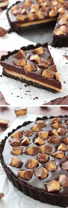 Reeses Chocolate Peanut Butter Tart - Only 6 ingredients! Oreo crust filled with chocolate and peanut butter ganache! No bake, so easy and delicious!