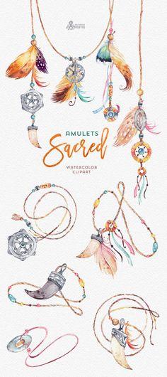 Sacred Amulets. Tribal Watercolor Clipart. Fang, tooth, beads, diy, boho, mascot, talisman, native american indian