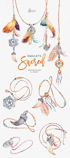 Sacred Amulets. Tribal Watercolor Clipart. Fang от OctopusArtis