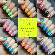 The Lacquerologist: Tough As Nails Lacquer Summer 2013 Collection: Swatches and Review!
