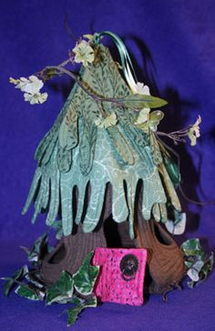 Cloth fairy house - pine tree roof - (mouse, gnome, troll) Sewing pattern by : Gloria Bradford