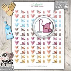 Clean Up Stickers, Planner Stickers, Printable Stickers, Planner Accessories, Erin Condren, Printable Planner Stickers, Printable Stickers