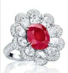 2009 Series platinum ring set with diamonds and rubies; Anna Hu