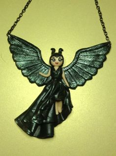 Polymer clay Maleficent statement necklace - Check link and add Las Artesanias to view more hand crafted products. https://www.facebook.com/LaArtesano