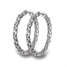 Charles Krypell Ivy Hoop Earrings Silver
