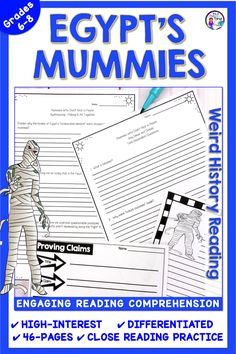 Test Prep Passage and Questions: Mummies of Egypt - theodora Close Reading Activities, Reading Practice, Middle School Ela, Middle School Teachers, Egypt Mummy, Reading Comprehension Passages, Authors Purpose, Thing 1, Teaching Language Arts