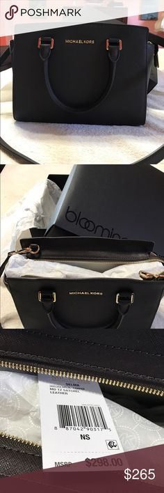 Micheal Kors Micheal Korrs authentic Selma medium top zip leather satchel in the color coffee purchased at Bloomingdales retail 298 plus tax bought for my daughter and never used . Still has tag on and in Bloomingdales box . In perfect condition no issues. No trades . I do bundle and take offers though Michael Kors Bags