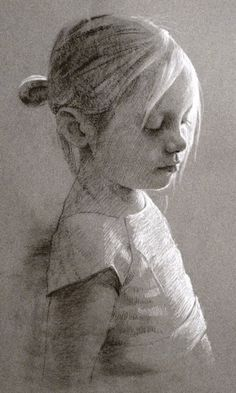 This is by someone named Adam?  I'm trying to learn how to use grey toned sketch paper.  I'm intrigued by how white chalk, perhaps, makes this kid look blonde.