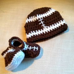 Football beanie and matching booties for newborn baby boy
