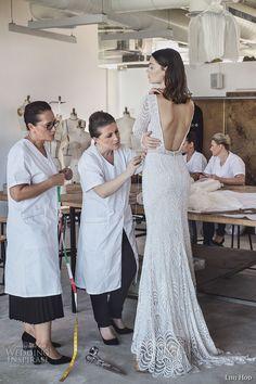 lihi hod 2017 bridal long sleeves bateau neckline full embellishment elegant sophiscated lace a  line wedding dress low back sweep train (sahara) bv -- Lihi Hod 2017 Wedding Dresses