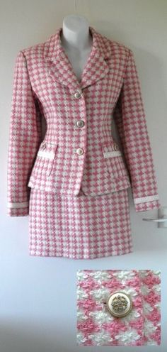 Original French VTG 60s Dogtooth Skirt Suit Blazer Jacket 8 10 Jackie O Mini Mod