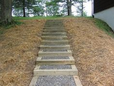 Landscape Stairs On A Hill . Landscape Stairs On A Hill . We Created these Simple Steps Using Bluestone Risers E Landscape Stairs, Landscape Timbers, Landscape Design, Hillside Landscaping, Small Backyard Landscaping, Shade Landscaping, Landscaping Ideas, Timber Stair, Sloped Yard