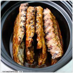 cocina sin prisas olla lenta  slow cooker crock pot - Costillas de cerdo barbacoa