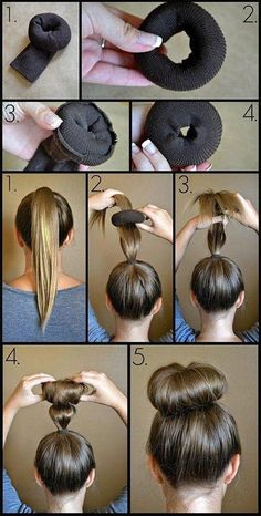 HOW to do the perfect BUN ! I used a baby sock for Delia's thinner hair. It worked!