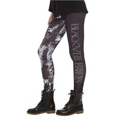 Black Veil Brides Faces Leggings | Hot Topic ❤ liked on Polyvore featuring pants, leggings, bridal pants, black trousers, black leggings and black pants