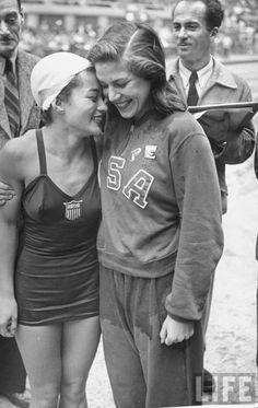 1948 Summer Olympics (in London) - Winner of first place high diving award Vicki Manolo Draves with second place winner Patty Elsener at the 1948 Olympics in London.  Taken by Ed Clark for Life Magazine.