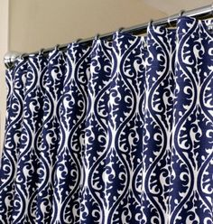 Oriental Pattern in Indigo Blue White sized 72 x 72 curtain