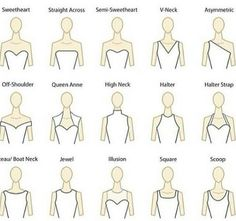 Different types of wedding dress styles. I prefer the sweetheart