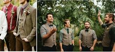 Inspire Wedding   Autumn   Tweed jackets for groom and groomsmen. Inject color into your ceremony - be creative with layers